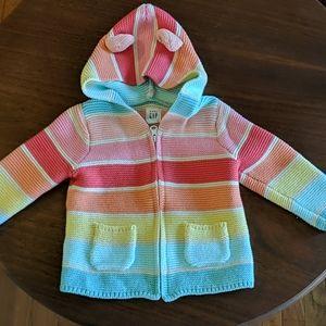 Gap Baby Brannan Bear Rainbow Zip Up Sweater